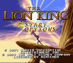 The Lion King (SNES)  © Virgin 1994   1/4