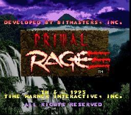 Primal Rage (SNES)  © Time Warner 1995   1/4