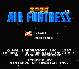 Air Fortress (NES)   © HAL Laboratory 1987    1/3