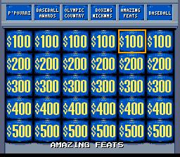 Jeopardy! Sports Edition (SNES)  © GameTek 1994   2/3