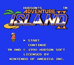 Adventure Island II (NES)  © Hudson 1991   1/3
