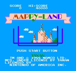 Mappy-Land (NES)  © Taxan 1986   1/3