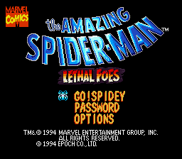 The Amazing Spider-Man: Lethal Foes (SNES)  © Epoch 1995   1/3