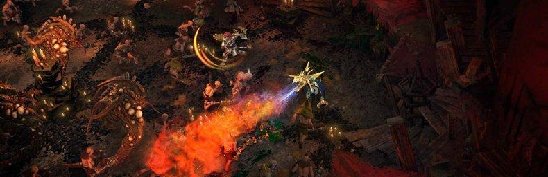 """<h2 class='titel'>Warhammer: Chaosbane</h2><h2 class='score'>5/10</h2><div><span class='citat'>""""Der har sikkert været gode intentioner, men spillet fremstår simpelthen for klodset, grumset og forsimplet. Vil du have Hack'n Slash, køb Diablo II.""""</span><span class='forfatter'>- Kim Olsen, Gamereactor</span></div>"""