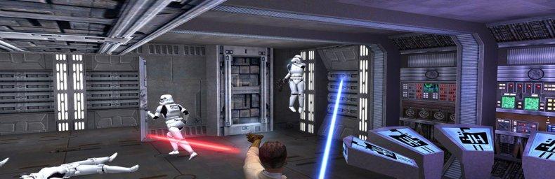 """<h2 class='titel'>Star Wars: Jedi Knight II: Jedi Outcast</h2><h2 class='score'>2/10</h2><div><span class='citat'>""""Ubeskriveligt frustrerende. Fjender sniper én fra kilometers afstand mens man ikke selv kan ramme en skid. Spiller okay på PC, alle konsol-ports er skod. """"</span><span class='forfatter'>- Konsolkongen</span></div>"""